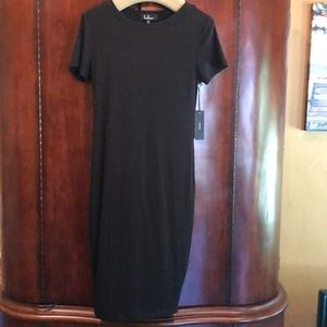 Lulu's Black ribbed t-shirt dress